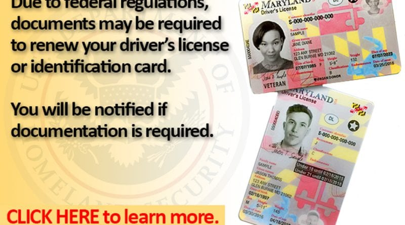 Southern Maryland Jan Requirements 2018 1 Renewing - New The license Starting Chronicle For Marylanders Id