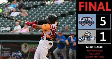 Blue Crabs pitching stifles Revolution, win 6-1
